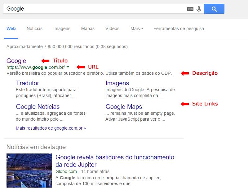 Página de Resultados Naturais do Google